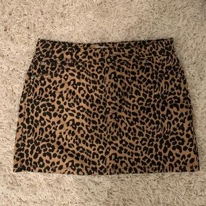 Topshop leopard denim skirt